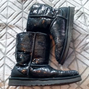 UGG black sequin boots.